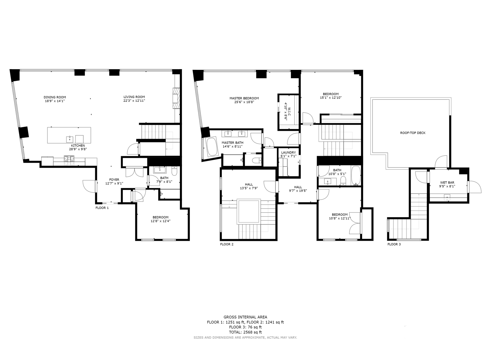 Floor Plan for Luxurious three bedroom and an office on the top 2 floors with private roof deck!